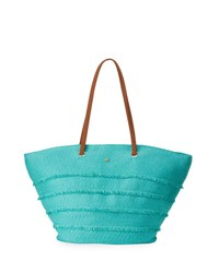 Cappelli Straworld Paper Braid Striped Straw Tote Turquoise