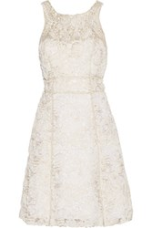 Marchesa Notte Metallic Embellished Tulle And Gauze Mini Dress Ivory