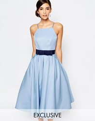 Chi Chi London High Neck Midi Prom Dress With Full Skirt Cashmere Blue