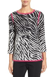 Ming Wang Women's Zebra Knit Tunic Rose Ivory Black