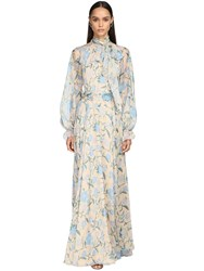 Luisa Beccaria Printed Chiffon Long Dress W Bow Collar Ivory