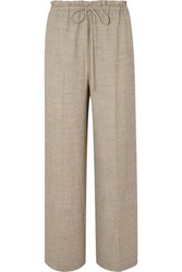 The Row Wool And Silk Blend Wide Leg Pants Beige