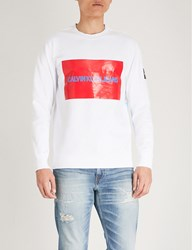 Ck Calvin Klein Multi Patch Cotton Fleece Sweatshirt Bright White Tomato