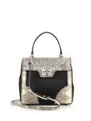 Prada Tessuto And Lizard Satchel Black Natural