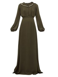 Rochas Crystal Collar Balloon Sleeve Georgette Gown Green