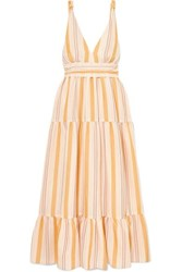 Lemlem Zeritu Belted Striped Cotton Blend Gauze Maxi Dress Yellow