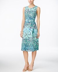 Charter Club Petite Printed Fit And Flare Belted Dress Only At Macy's Paris Green Combo
