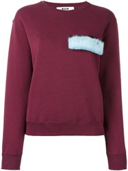 Msgm Fur Detail Sweatshirt Red