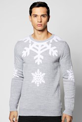 Boohoo Snowflake Christmas Jumper Grey