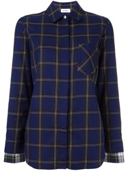 Courreges Checked Chest Pocket Shirt Blue