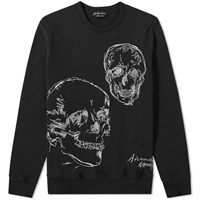 Alexander Mcqueen Double Skull Embroidered Crew Sweat Black