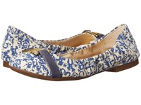 Lauren Ralph Lauren Betty Blue Block Print Cotton Women's Flat Shoes