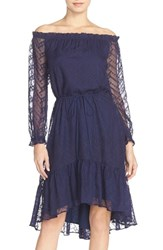 Women's Adelyn Rae Lace Off The Shoulder Dress With High Low Ruffle Hem Navy