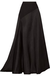 Lanvin Jersey Paneled Wool And Silk Blend Maxi Skirt Black