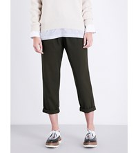 Brunello Cucinelli Straight Leg Cropped Wool And Cotton Blend Trousers Military Green