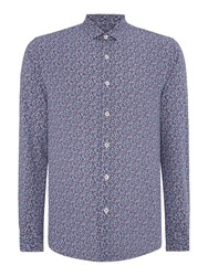 Peter Werth Porter Floral Slim Fit Long Sleeve Button Down Sh Blue
