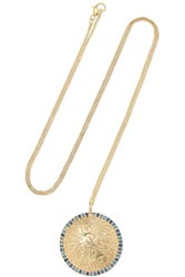 Larkspur And Hawk Emily's Garden Arbor Medallion 14 Karat Gold Sapphire Necklace