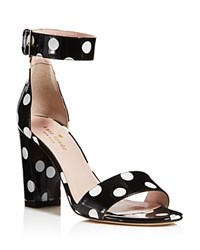 Kate Spade New York Idabelle Too Ankle Strap High Block Heel Sandals Black White
