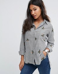Love And Other Things Denim Shirt With Floral Embroidery Black