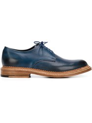 Grenson Stacked Heel Derby Shoes Blue