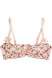 Agent Provocateur Kaity Floral Appliqued Stretch Tulle Balconette Bra Peach