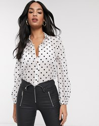 Stradivarius Puff Sleeve Shirt In White With Dots Beige