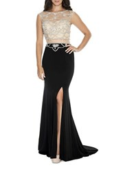 Decode 1.8 Embellished Fit And Flare Train Gown Black