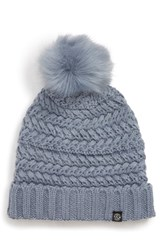 Treasure And Bond Cable Knit Beanie With Faux Fur Pom Blue Blue Water