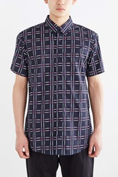 Publish Grid Short Sleeve Button Down Shirt Navy