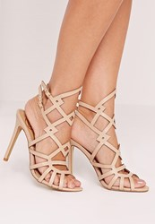 Missguided Laser Cut Strappy Heeled Sandal Nude Beige