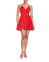 M By Mac Duggal Embellished Plisse Party Dress Red