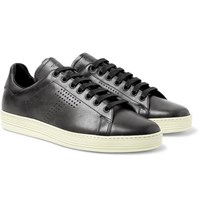 Tom Ford Warwick Perforated Leather Sneakers Dark Gray