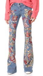 Alice Olivia Ryley Embroidered Low Rise Bell Jeans Vintage Wash Gloria Tapestry