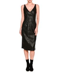 Stella Mccartney Sleeveless V Neck Faux Leather Dress Black