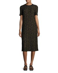 Public School Ray Short Sleeve Lace Midi Dress Black Yellow Multi
