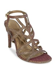 Kenneth Cole Reaction Glittered Caged Dress Sandals Gold