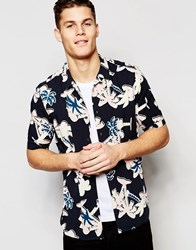 Asos Viscose Shirt With Palm Tree Print And Revere Collar In Regular Fit Black