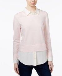 Tommy Hilfiger Layered Look Sweater Only At Macy's Ballerina Pink