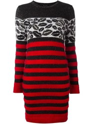 Just Cavalli Striped Fitted Dress Black