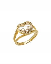 Chopard Estate Happy Hearts 18K Yellow Gold Diamond Ring Size 5.75