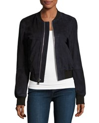 Theory Daryette S Benna Suede Bomber Jacket Navy Blue