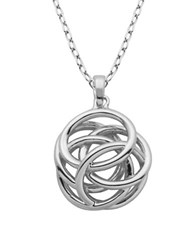 Lord And Taylor High Polished Geometric Knot Pendant Necklace Silver
