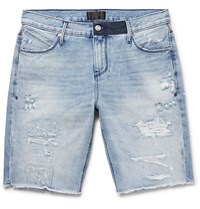 Rta Slim Fit Embroidered Distressed Denim Shorts Blue