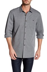 Micros Long Sleeve Button Down Knit Shirt Gray