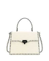 Valentino Rockstud Medium Leather Top Handle Satchel Bag Light Ivory