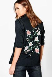 Boohoo Boutique Embroidered Back Woven Shirt Black