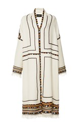Isabel Marant Ecru Embroidered Bering Coat Off White