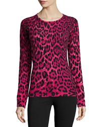 Neiman Marcus Cashmere Collection Cashmere Long Sleeve Leopard Print Top Claret