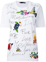 Love Moschino Printed Embroidered T Shirt Women Cotton 44 White
