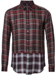Hl Heddie Lovu Panelled Checked Shirt Red